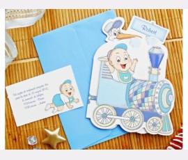 Invitatie de botez albastra