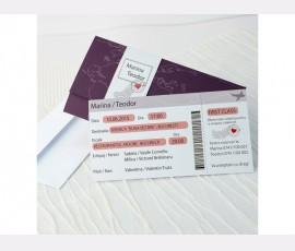 Invitatie de nunta tip bilet avion
