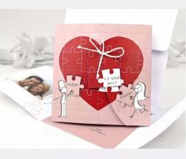 invitatii de nunta puzzle
