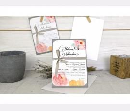 Invitatie cu flori acuarele - Cod 32627