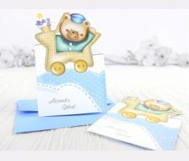 Invitație trenuleț bleu  - Cod 15504