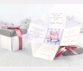Invitație botez tip cutie 3D - fetiță - Cod 15513