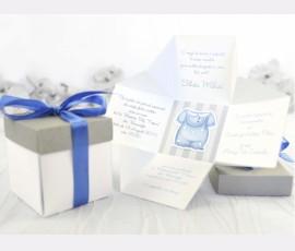 Invitație botez tip cutie 3D- băiat - Cod 15512