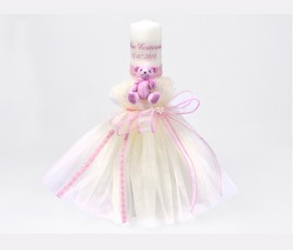 Lumanare stalp ursulet roz