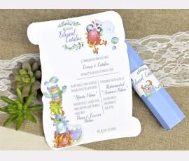 Invitatie de botez monstruleti - Cod 15604