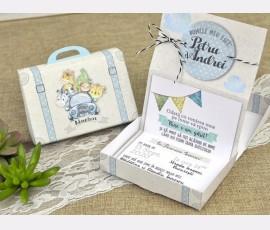 Invitatie de botez cutie bleu - Cod 15600