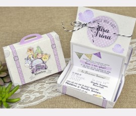 Invitatie de botez cutie roz - Cod 15601