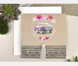 Invitatie de nunta rulota cu flori