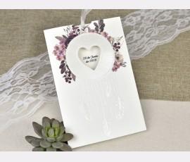 Invitatie de nunta cu pene si flori