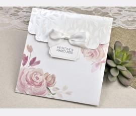 Invitatie de nunta cu flori acuarela