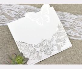 Invitatie de nunta taiere laser cu fluture - Cod 39624