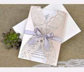 Invitatie de nunta eleganta taiere laser - Cod 39381