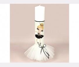 Lumanare botez pastel Pretty Balerina Black
