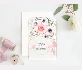 Invitatie de nunta motive florale 39723 - Cod 39723