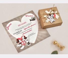 Invitatie de nunta Puzzle Minnie si Mickey 39738