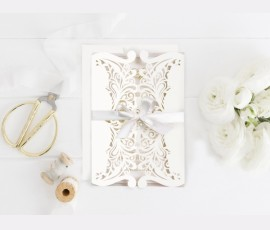 Invitatie de nunta decupaj Laser Ivory 39746-1 - Cod 39746-1