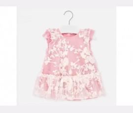Rochie tul brodat roz bebe fetita 1910