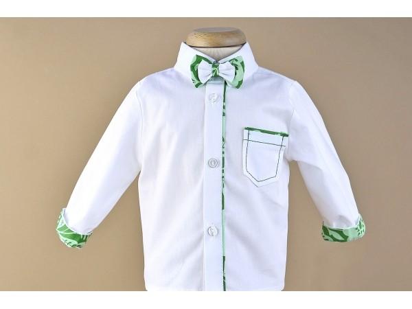 Camasa cu insertie si papion - verde