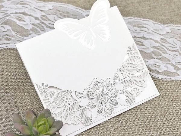 Invitatie de nunta taiere laser cu fluture