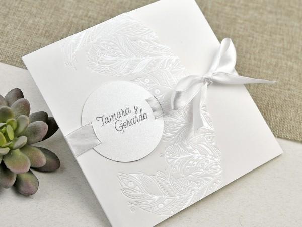 Invitatie de nunta eleganta cu pene