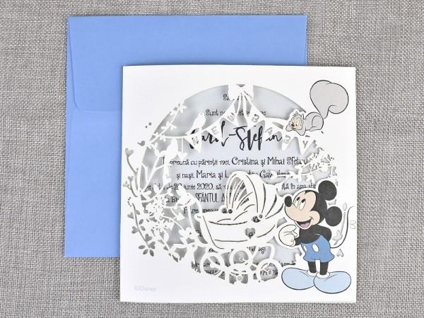 Invitatie de botez cu decupaj Laser Mickey