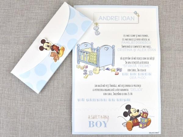 Invitatie de botez Baby Boy Mickey