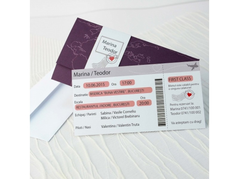 Invitatie De Nunta Tip Bilet Avion 32652 Deluxe Cards